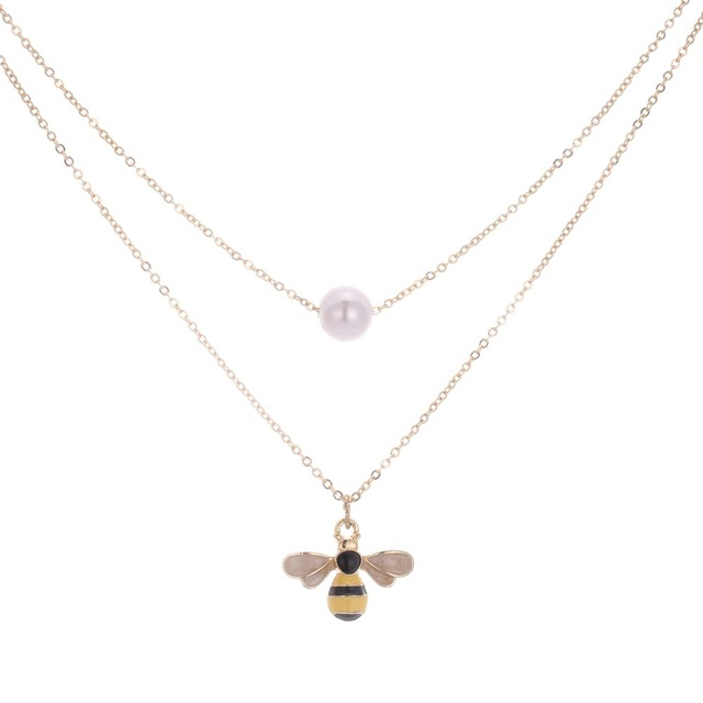Daisies Enamel Cute Bee & Pearl Pendant Set Necklaces Women Chain Choker Christmas Birthday Gifts