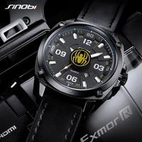 SINOBI New Watch Men Saat Genuine Leather Geneva Quartz Sport Watches Black Spider Creative Clock Waterproof Relogio Masculino