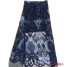 Gold African Cord Lace Fabric 2018 High Quality Lace Royal Blue Sequin Dress  Lace Fabric 5 yard Indian For Wedding L1588B-1 f3dfd73950c7