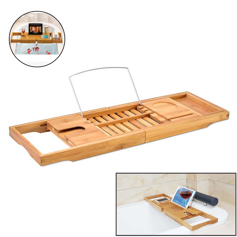 Home Improvement Bamboo Bathroom Tray Telescoping Bathtub Desk For Phone Laptop Notebook Wine Glasses Candles Bathroom Holder