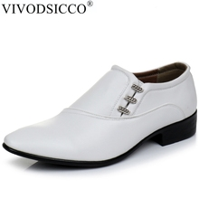 VIVODSICCO New White PU Leather Mens Business Dress Shoes Men Oxfords Slip On Men Party Wedding Derby Shoes Casual Flats Shoes