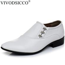 VIVODSICCO ใหม่สีขาว PU หนังผู้ชายธุรกิจรองเท้าผู้ชาย Oxfords SLIP ON Men งานแต่งงาน DERBY รองเท้าสบายๆรองเท้า