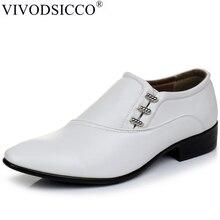 VIVODSICCO yeni beyaz PU deri erkek iş elbise ayakkabı erkekler Oxfords erkekler üzerinde kayma parti düğün Derby ayakkabı rahat flats ayakkabı