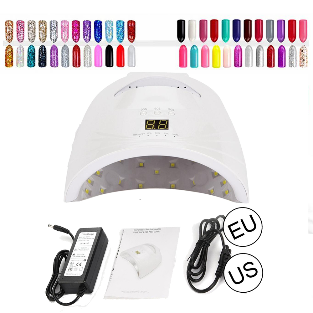 UV Lamp 48W Dryer LED Lamp Nail Cordless Rechargeable Nail Gel Polish Light For Curing Lamp Dryer Manicure 28 LED Lamp Nail Tool 50w uv led lamp nail dryer 28pcs led light with infrared red light skin care mode nail lamp for curing gel polish manicure tools