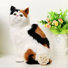 creative simulation cat toy polyethylene & furs colourful sitting cat model gift about 19x14x26cm