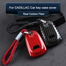 Car Accessories For Cadillac ATS CT6 XT4 XT5 XTS CTS EXT SRX XLR SLS ESCALADE Carbon Fiber Car Key Smart Remote Key Case Cover