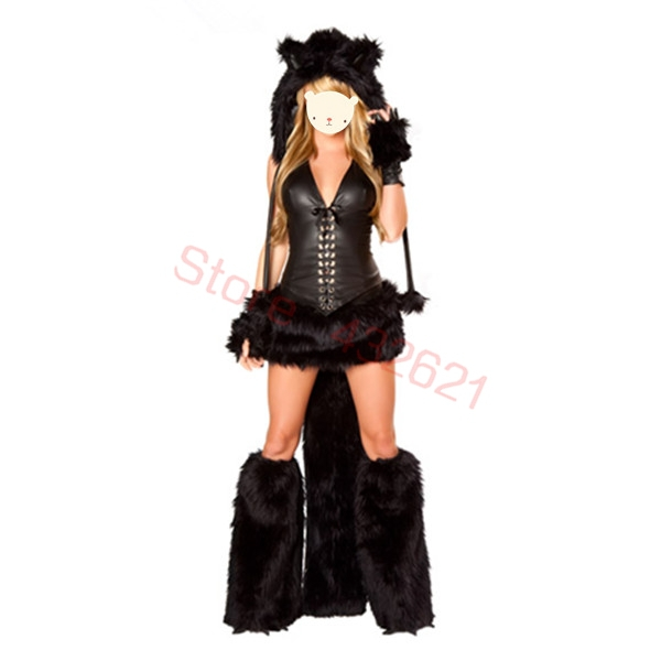 Free Shipping Hot Sexy Cat Woman Furry Wolf Girl Halloween -6927