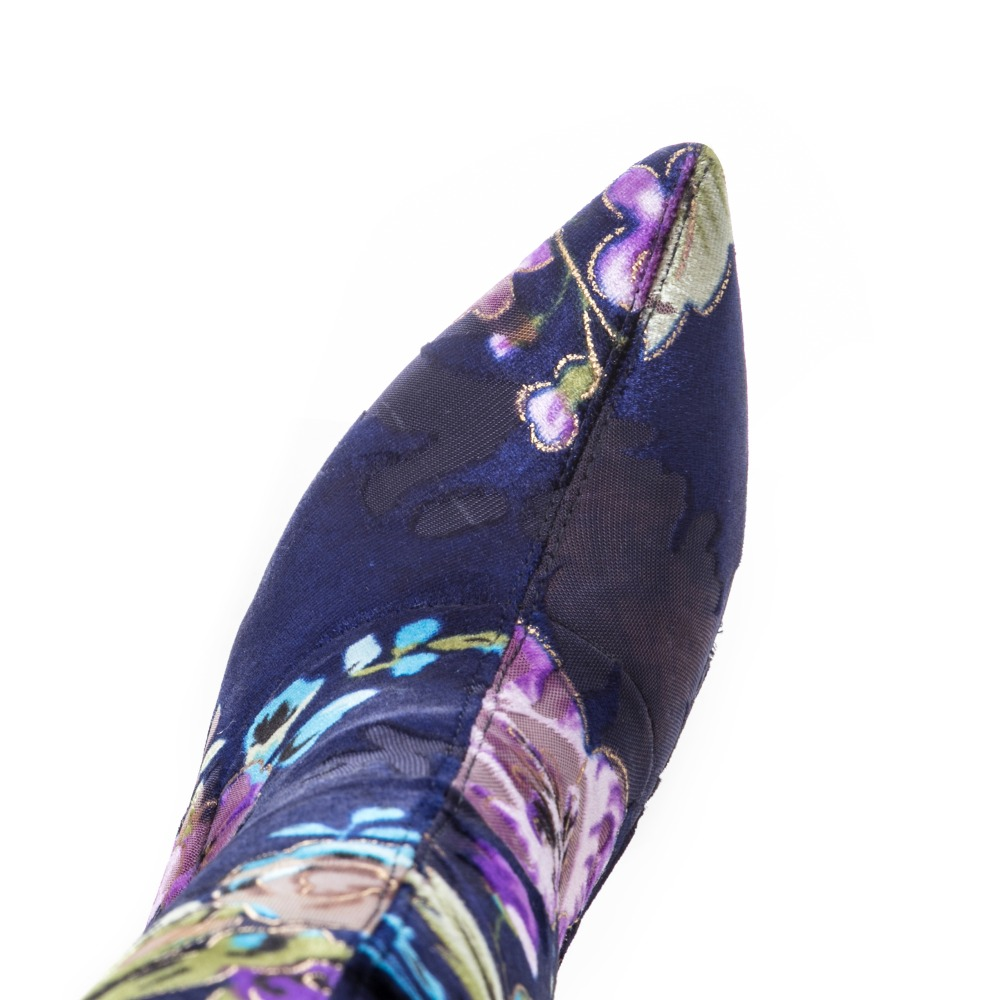 Broderie Sexy 43 De Boots Stretch Marque Femmes Chaussures Talon 2018 33 Color Imprimé color Fine Bottes Short Bout Grande Mstacchi Long Pointu Taille Fleur Boots qAZxwI4v