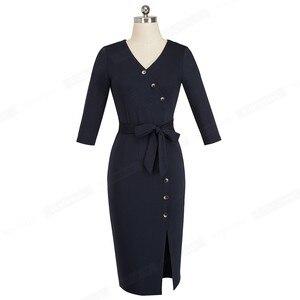 Image 2 - Ładny na zawsze elegancki Vintage jednolity kolor podział nosić do pracy z paskiem vestidos Business Party Bodycon kobiety sukienka biurowa B464