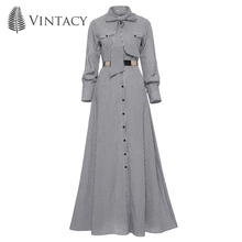 Spring Autumn Women Striped Maxi Dress Casual Bowknot Dress Tie Single-Breasted Floor-length Elegant A-line Fashion Long Dress