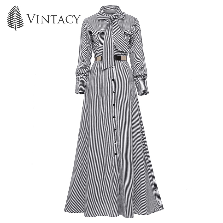 Spring Autumn Women Striped Maxi Dress Casual Bowknot Dress Tie Single Breasted Floor length Elegant A line Fashion Long Dress