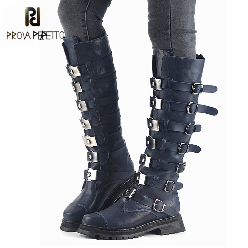 Prova Perfetto Punk Style Women Knee High Boots Strap Buckles Women Martin Boots Autumn Winter Genuine Leather Flat Rubber Shoes prova perfetto black handmade women genuine leather mid calf boots buckle straps martin boots women platform rubber shoes woman
