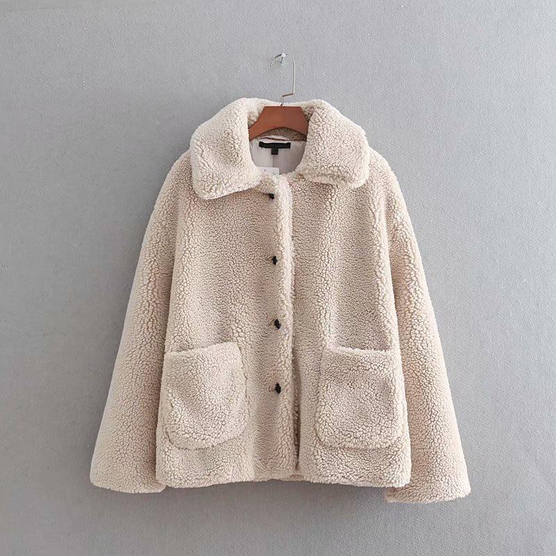 Winter Overcoats Female Jackets Pink Wool Coats Warm Fur Goplus Lamb Faux Women C6687 khaki Autumn Outerwear Buttons 2019 qHxgzO