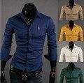 Camisa 2016 Hot Solid Completa Nuevo Mens Slim Fit Manga Larga Camisas casuales Masculinos Formales Bordado Ciervos Camisa de Vestir de Gran Tamaño M-4xl