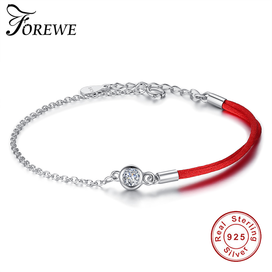 FOREWE Red String Bracelet with Zircon 925 Sterling Silver Rope Bracelet Lucky Red Thread Bracelets For Women Jewelry pulseira de prata personalizada