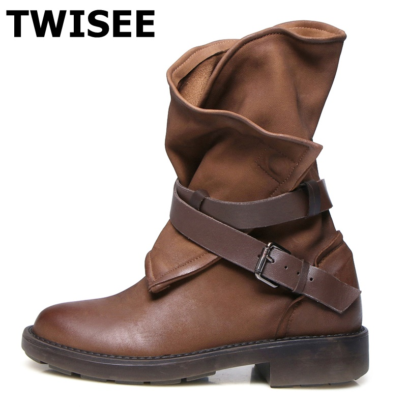 TWISEE Sheep Style Genuine Leather Women Boots Flat Booties Soft Cowhide Women's Shoes khaki black Ankle Boots zapatos muje twisee new lace up ankle boots zapatos mujer women genuine leather boots vintage style flat booties round toe women s shoes