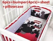 Promotion! Cartoon 6pcs Baby Crib Bedding Sets Cotton,Bedding Brand Bedding Set,Baby Cot Sheets (bumper+sheet+pillowcase)