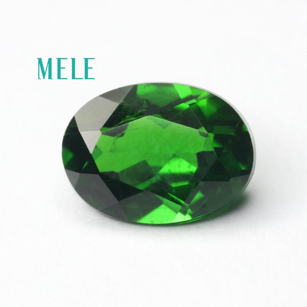 Excellente gemme diopside en chrome naturel pour la fabrication de bijoux, 6X8mm taille ronde 1.3ct bricolage pierres précieuses en vrac de haute qualité