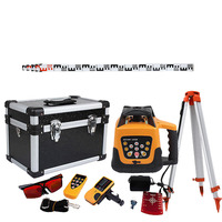 500m Range Self leveling Laser Level Rotary Rotating Red Beam w/ Tripod + Staff