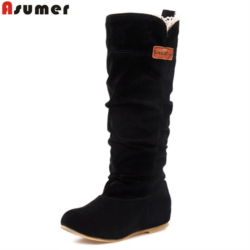 new 2015 fashion female woman knee high boots flat heel nubuck leather motorcycle women boots autumn boots autumn winter shoes