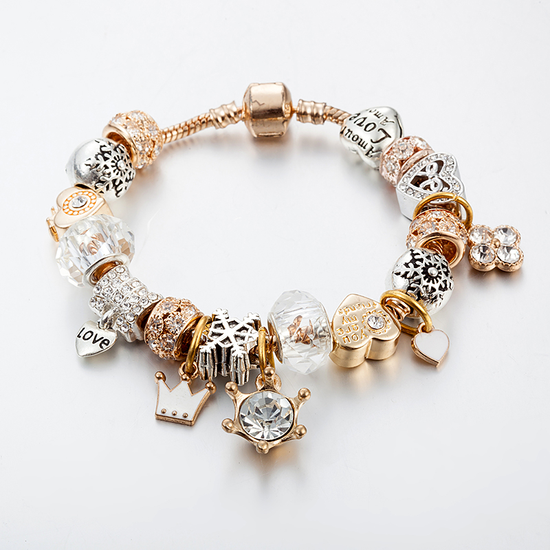 Fashion Jewelry Heart Charm Bracelets & Bangles Gold Color ...