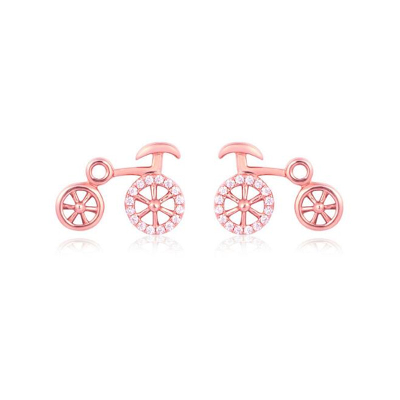 18K Gold Earings Fashion Biker Jewelry Cute Korean Brincos Tiny Bike Bicycle Stud Earring For Women Mens Best Friend Gifts Aros