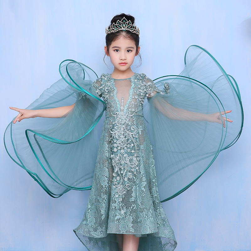 Luxury Flower Girl Dresses for Wedding Appliques Floral Sleeve Kids Pageant Dress Party Costume Long Tailing Princess Dress B37