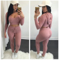 YONO New Fashion Women Tracksuit Sexy Hoodie Set Stretch Summer Thin Casual Skinny Knitted Wear Hooded Sweatshirt Pants 2 Pcs