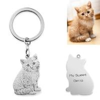 SMJEL 2018 New Fashion Real 925 Sterling Silver Pet KeyChain Custom Made Key chain Jewelry Accessories Anime Keychain Women