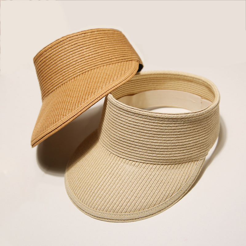 2019 Summer Sun Hat For Women Hat Outdoor Large Brim  Girls Beach Hat With Visors Anti-UV Straw Cap Adjustable Wholesale