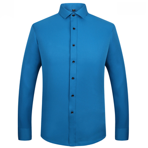 Image 3 - Excellent Quality long sleeved turn down collar bamboo fiber elastic slim fit mens dress shirts without front pocket