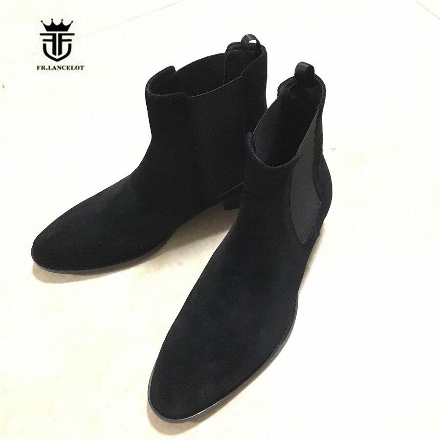 Botas clásicas de lujo Hedi Chelsea en ante Tan elástico deslizamiento en botas de cuero genuino fotos reales de los hombres-in Botinas from zapatos    1