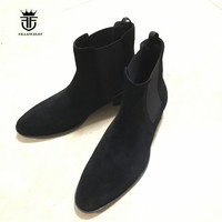 Men Luxury Classical Hedi Chelsea Boots In Tan Suede Elastic Slip On genuine Leather Boots Actual Photos