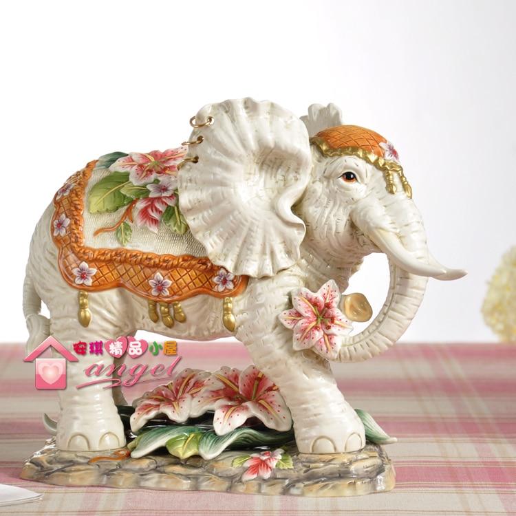 Us 170 32 10 Off Big Lucky Ceramic Elephant Home Decor Crafts Room Decoration Handicraft Ornament Porcelain Figurines Wedding Decoration Gift In