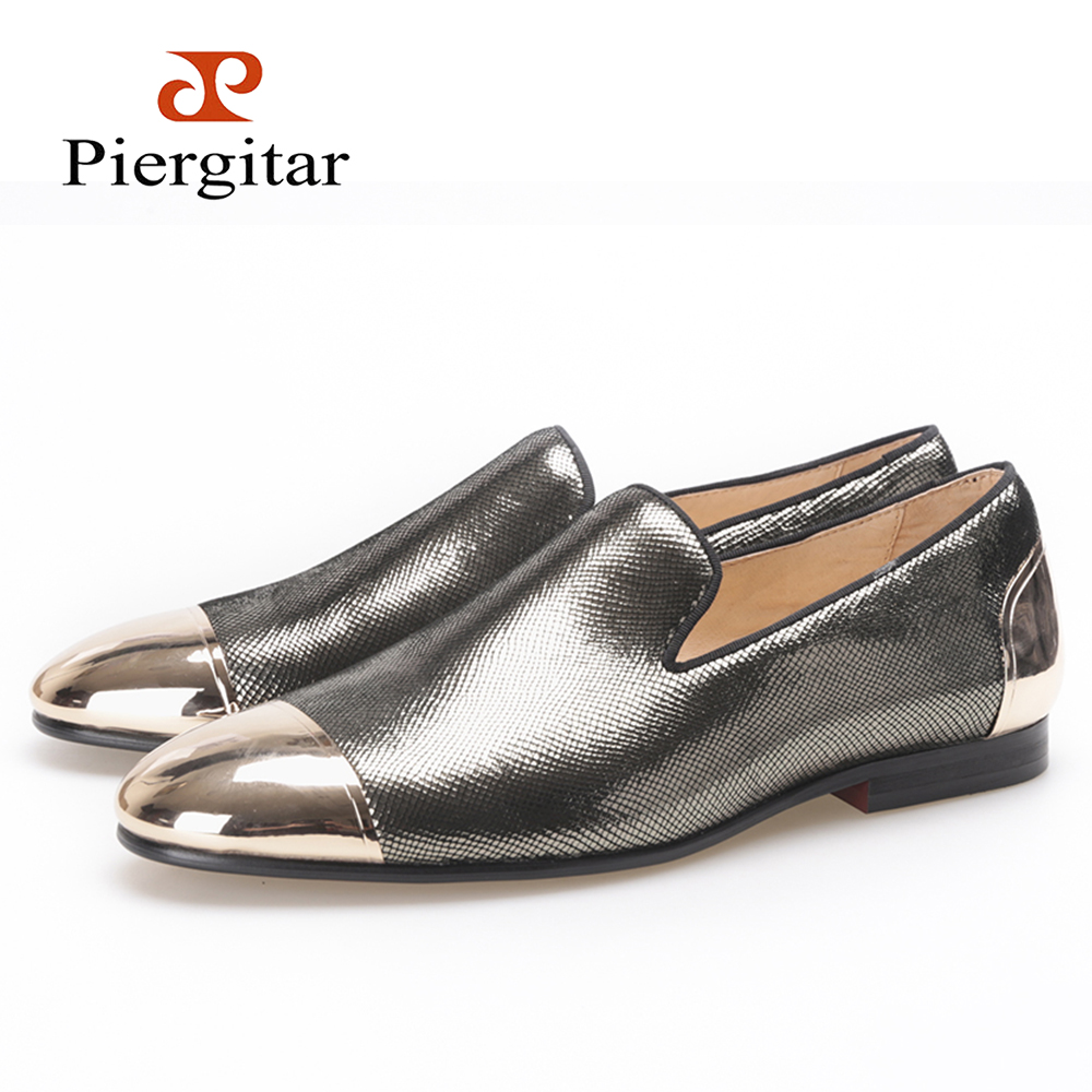 Piergitar new style men shoes with metal toe and  heel  grey or sliver  handmade Prom and Banquet loafers Wedding men's flats piergitar 2016 new india handmade luxurious embroidery men velvet shoes men dress shoes banquet and prom male plus size loafers