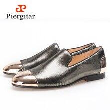 Piergitar Новые стильные мужские туфли с металлическим носком и пяткой цвета: серый серебристый лоферы ручной работы для торжества или выпускного бала свадебные мужские туфли на плоской подошве