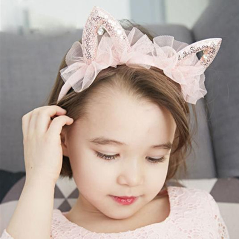 2018 New Year Gift Girls Hairbands Pink Mesh Cat Ear Princess Hair Accessories Hairbands Kids Boutique Hair Hoop 6 Colors Stock pinup rockabilly special retro atmosphere beautiful generous banquet hoop rabbit ear