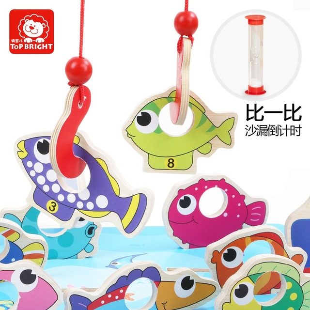 candice guo! Funny educational wooden toy montessori colorful sea fish cartoon fishing game hand-eye coordination learning 1pc
