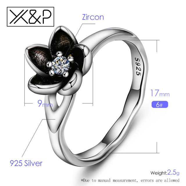 X&P Fashion New 925 Silver Stackable Finger Rings for Women Girl Black Enamel Mystic Floral Flower Ring Jewelry Gift