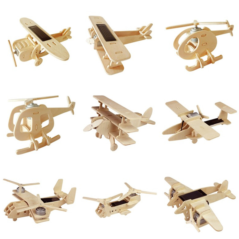 Robotime 11 Kinds Solar Energy Powered Toy Plane 3D Wooden Handmade Assembled Model Building Toys Gift for Children Adult P250