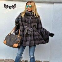 2019 BFFUR Real Mink Coats For Women Genuine Fur Outfit Plus Size Full Pelt Casual Jacket Belt Natural Fur Coat Fashion Clothing