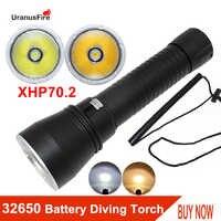 Led mergulho lanterna poderosa xhp70.2 chip amarelo/branco luz 4000lm tocha subaquática 100m à prova dwaterproof água lanternas de mergulho 32650