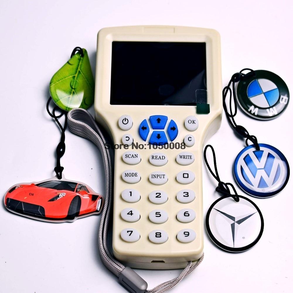 English 10 Frequency Copier RFID NFC Encrypted Cloner Reader Writer 5pcs 125khz T5577 Writable Cartoon Keyfobs