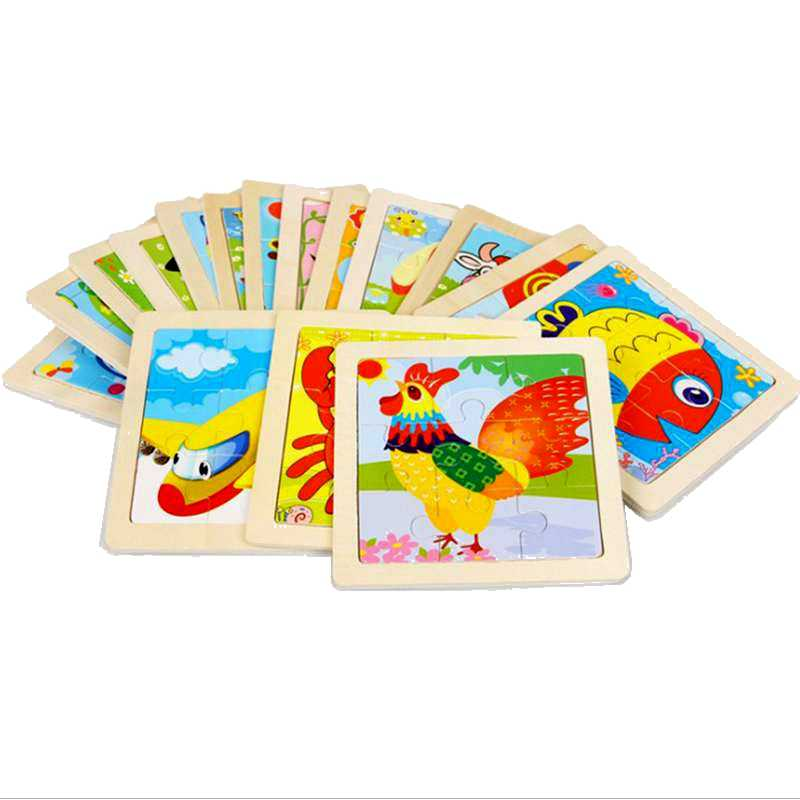 Wooden 3D Puzzle Baby Cartoon Wooden Toys Animal Traffic Puzzle Jigsaw for Children Educational Toy Kids Puzzles 11cm*11cm