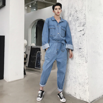 Fashion Autumn One Piece Denim Jumpsuit Men Hip hop Man Streetwear jean Rompers Mens Wide Sleeve Multi-pocket Overalls X9117