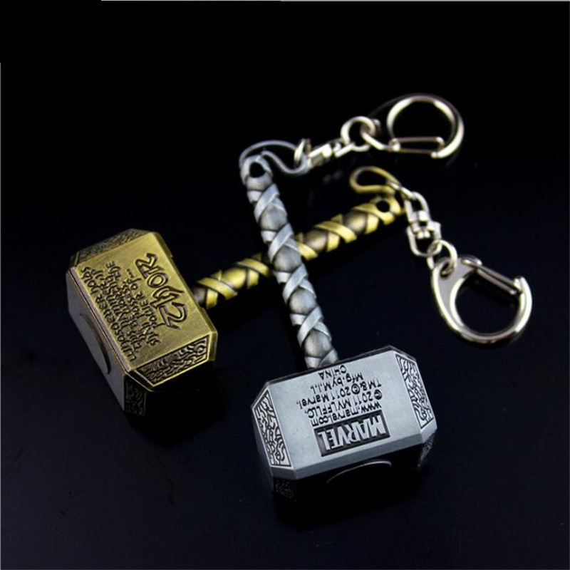Hot Superhero Movie The Avengers Thor Mjolnir Necklace Axe Cosplay Badge Key Chain Metal Hammer Marvel Fans Toy Christmas Gift