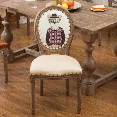 European American retro chair dining chair modern minimalist home Nordic solid wood restaurant nail shop chair backrest.