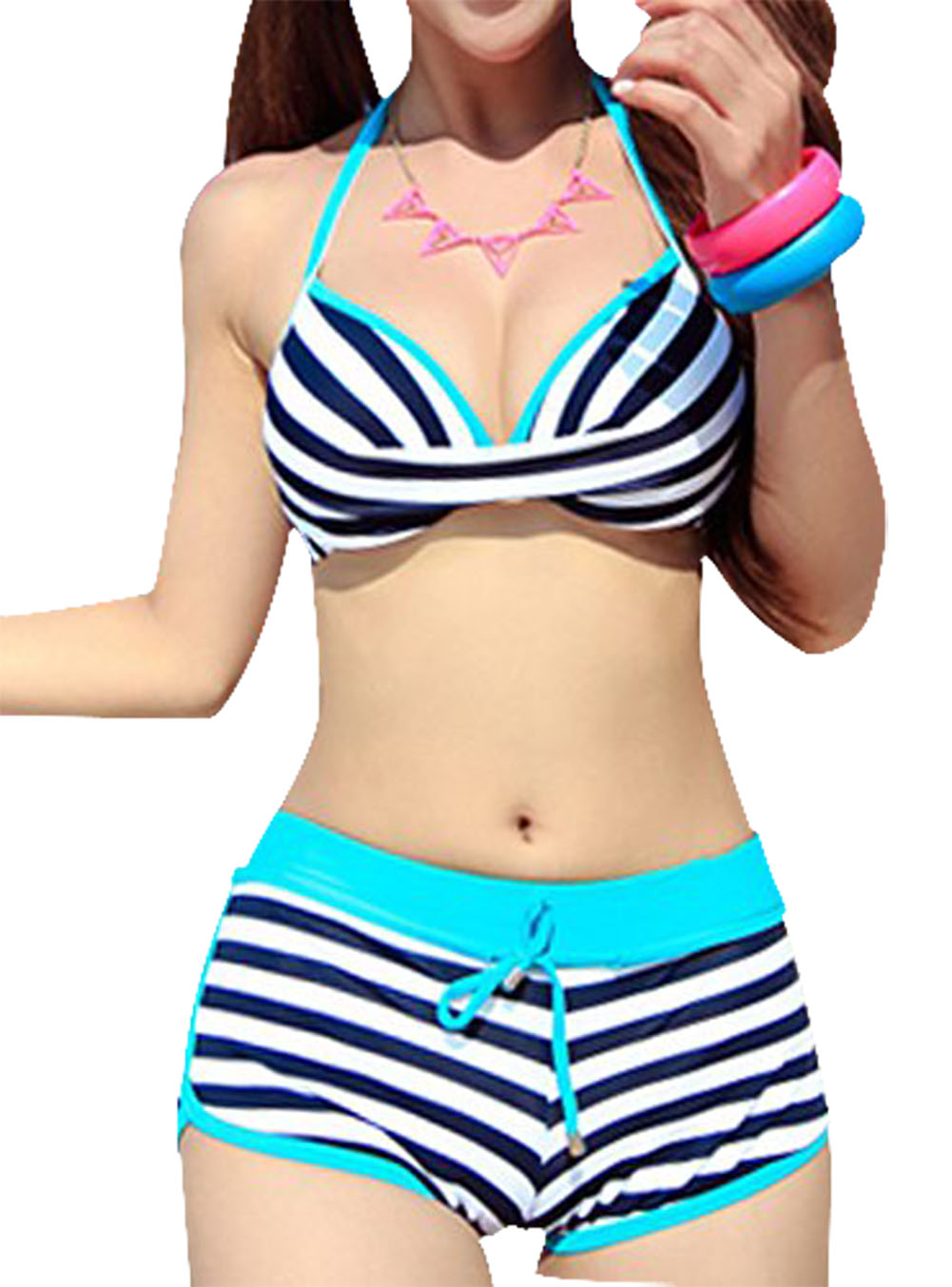 Good deal Stylish Women s Halter Striped Two Piece Swimsuit