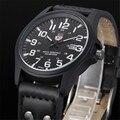 Sanwony Vintage Wristwatches Classic Men's Date Leather Strap Sport Quartz Army Watch Hot