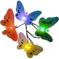 Jiaderui LED En Plein Air Solaire Jeu de Lumières 12 Led Multi Couleur Fiber Optique Papillon Lumière Éclairage Décoratif pour La Maison Jardin